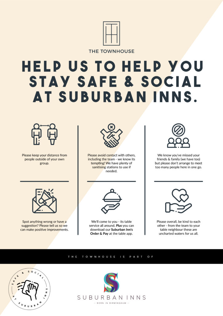 Suburban Inn's safe and social icons